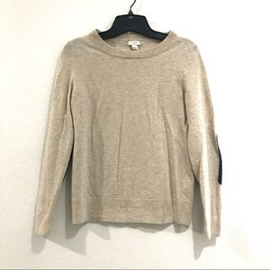 💚3/$25J crew tan sweater with black elbow patches